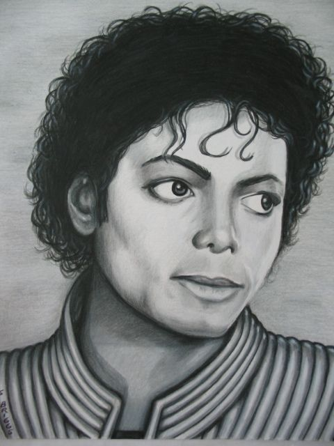 Kind) Michael Jackson Thriller Portrait Pencil Drawing Original